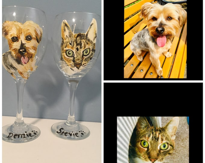 Pet portrait, wine glass, for dog lovers, for cat lovers, for pet owners, for wine lovers, pet gift, hand painted