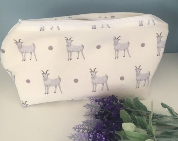 Goat makeup bag , Cosmetics bag, for goat lovers, goat gift, for makeup lovers
