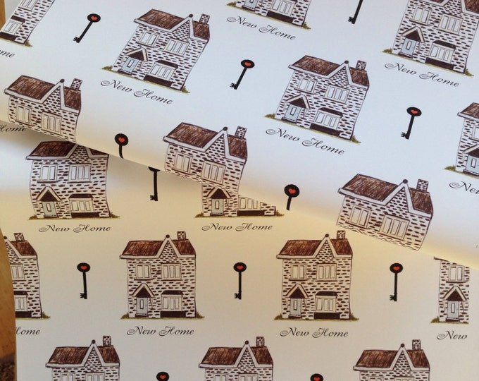 New home wrapping paper, gift wrap, homes, houses, moving house, house warming, new home, read description FOR SMALLER GIFTS