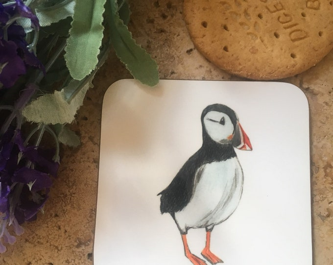 Puffin coaster, coasters, for bird lovers, for puffin lovers, puffin gift