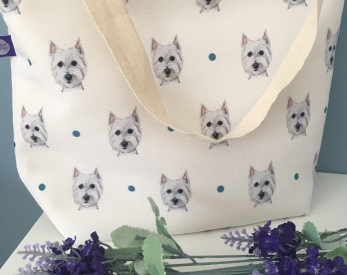 Westie, tote bag, day bag, for westie lovers, for westie owners, westie gift