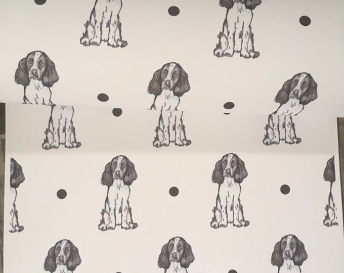 Springer spaniel , spaniel, wrapping paper , gift wrap, for dog lovers, for springer spaniel owners, read description