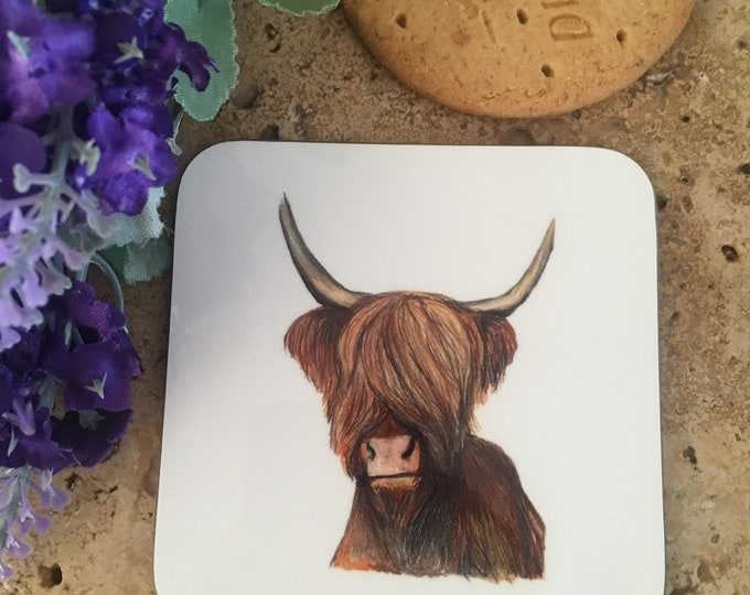 Highland cow coaster, hairy cow coaster, heilan coo, for cow lovers, highland cow gift