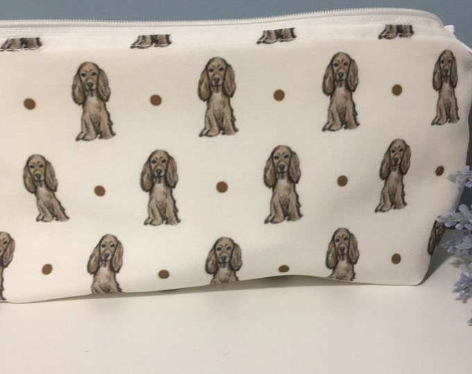 Cocker spaniel, makeup bag, cosmetics bag, for cocker spaniel lovers, cocker spaniel gift