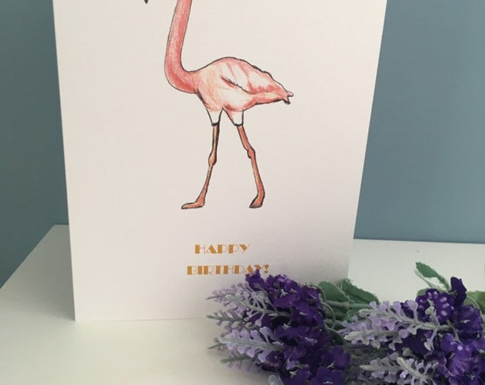 Flamingo card, birthday card , greetings card, for flamingo lovers, flamingo gift