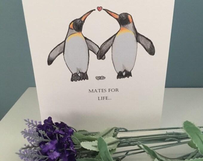 Mates for life , wedding card, penguin card, friendship card, for penguin lovers, wedding gift , friendship gift