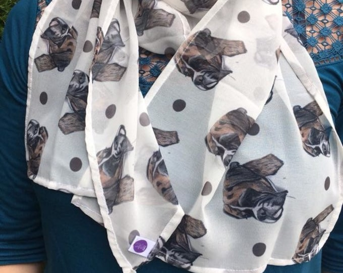 Boxer dog scarf, chiffon scarf, for boxer dog lovers, boxer dog gift