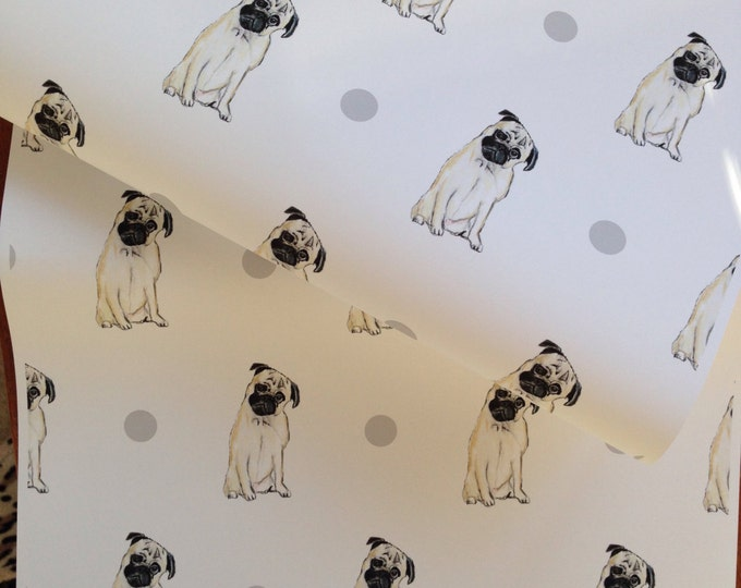 Pug, wrapping paper, gift wrap, for pug lovers, pugs, read description
