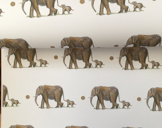 Elephant, wrapping paper ,gift wrap , Mother's Day , for Mother's Day , for elephant lovers read description, FOR SMALLER GIFTS