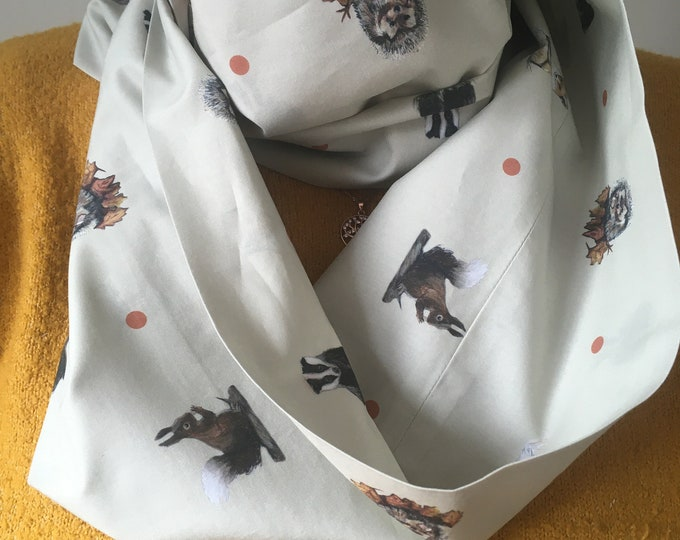 Woodland animal, scarf, cotton scarf, for woodland animal lovers, infinity scarf, loop scarf
