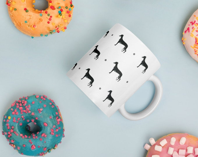 Greyhound mug, mug and coaster set, for greyhound lovers, for dog lovers, greyhound gift