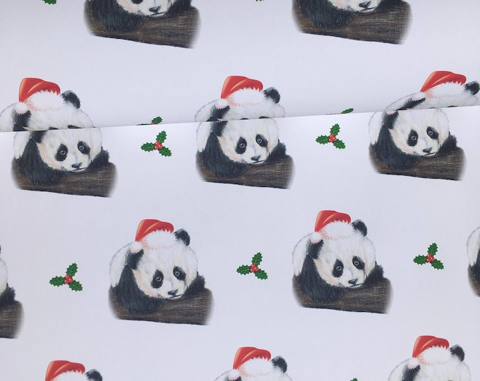 Panda, wrapping paper, gift wrap, for panda lovers, Christmas wrapping paper, santa panda , read description FOR SMALLER GIFTS
