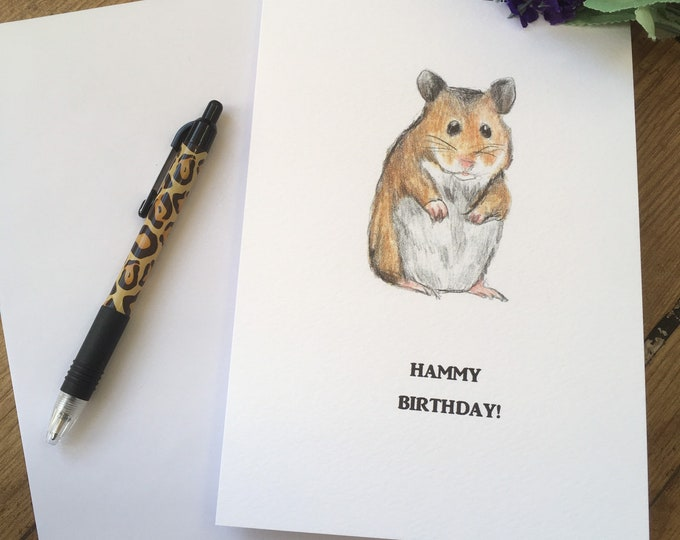 Hamster birthday card, hammy birthday card, for hamster lovers, hamster gift