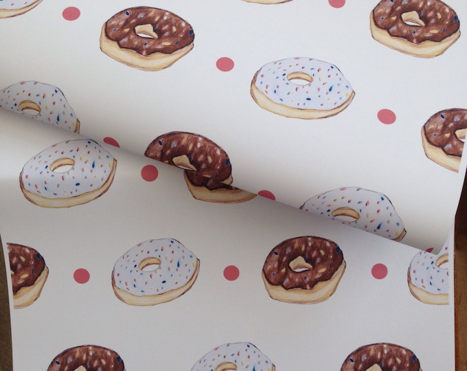 Doughnut  wrapping paper, gift wrap, for doughnut lovers, for cake lovers, birthday paper, donuts, doughnuts,read description