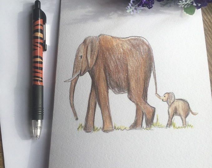 Elephant card, Mother's Day card, for elephant lovers, elephant gift, elephant gift idea,
