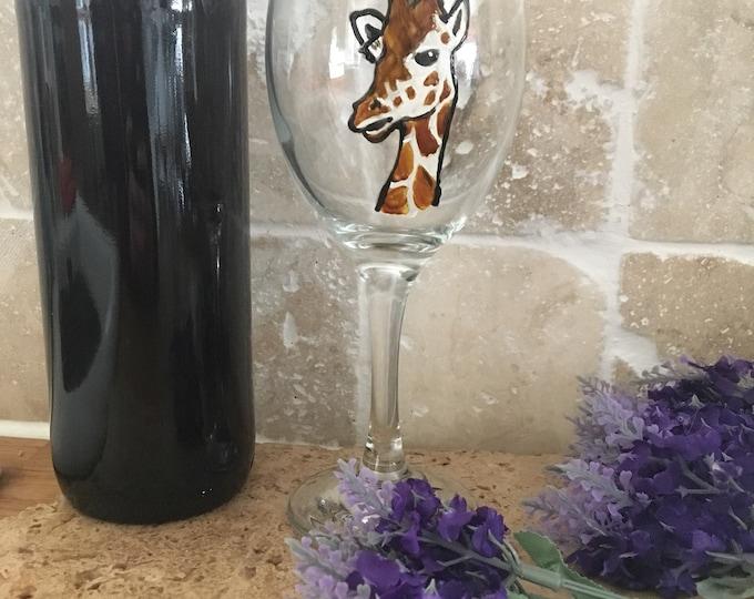 Giraffe wine glass, giraffe, for giraffe lovers, for wine lovers, wine, glass, hand painted