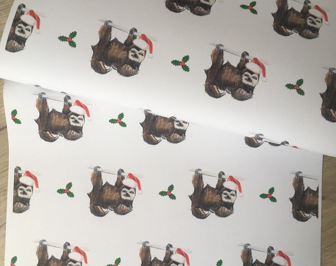 Sloth, santa sloth, Christmas paper, wrapping paper, for sloth lovers, read description