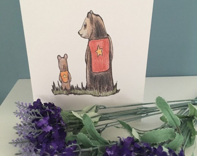 Bear card, bear and cub card, Father's Day card, for Father's Day,gift for him, for bear lovers