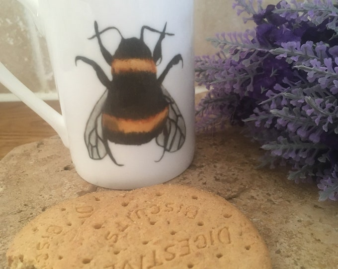 Bee mug, bumble bee mug, bone china mug, for bee lovers, for bee keepers, bee gift