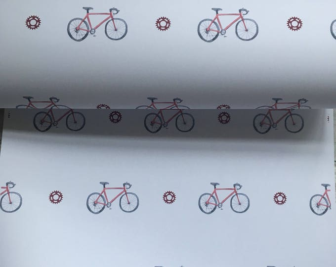 Bicycle, bike, wrapping paper, gift wrap, for bike riders, for bike lovers, read description