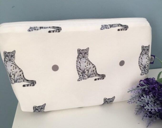 Snow leopard makeup bag , cosmetics bag, for snow leopard lovers, snow leopard gift