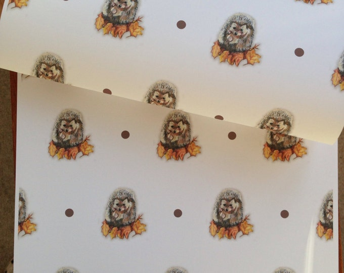 Hedgehog wrapping paper, gift wrap, for hedgehog lovers, hedgehog, read description