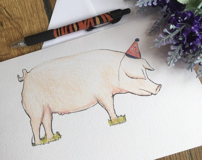 Pig, party pig, card, greetings card, birthday card, for pig lovers, pig gift, pig birthday card