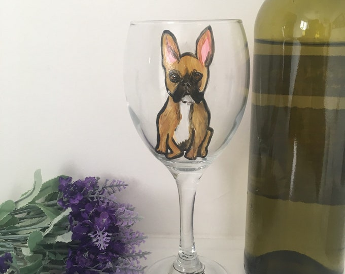 French bulldog, frenchie, wine glass, for french bulldog lovers, for dog lovers, french bulldog gift