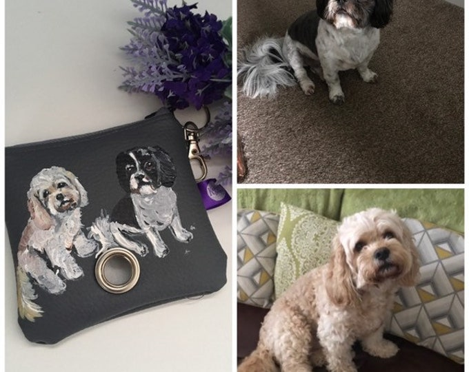 Pet portrait , poo bag holder,for dog owners, for dog lovers, dog gift, poo bag storage , poop bag holder