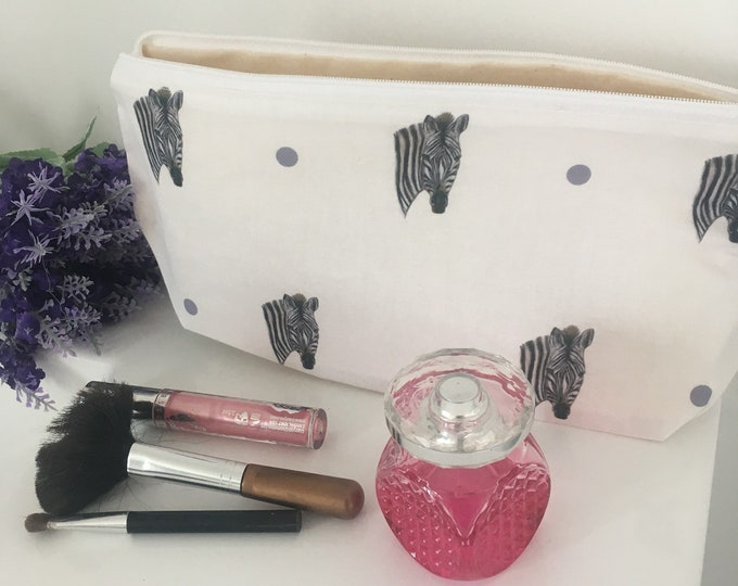 Zebra, makeup bag, cosmetics bag, for zebra lovers, zebra gift