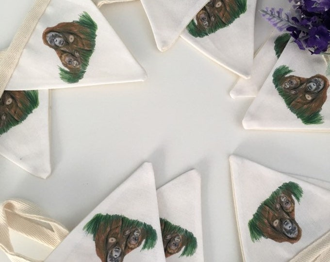 Orangutan bunting, garland, for orangutan lovers, for monkey lovers, orangutan gift