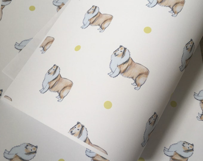 Rough collie, wrapping paper, gift wrap, for rough collie lovers, rough collie gift, read description
