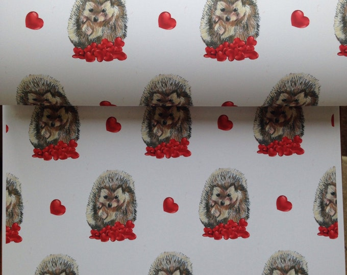 Hedgehog, wrapping paper ,gift wrap , for hedgehog lovers, Valentine's Day, read description