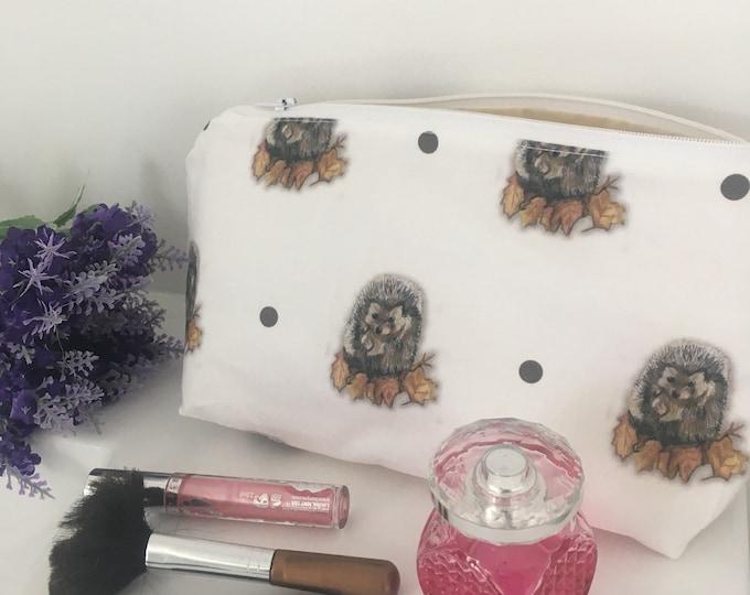 Hedgehog , makeup bag, cosmetics bag , for hedgehog lovers , storage bag, hedgehog gift