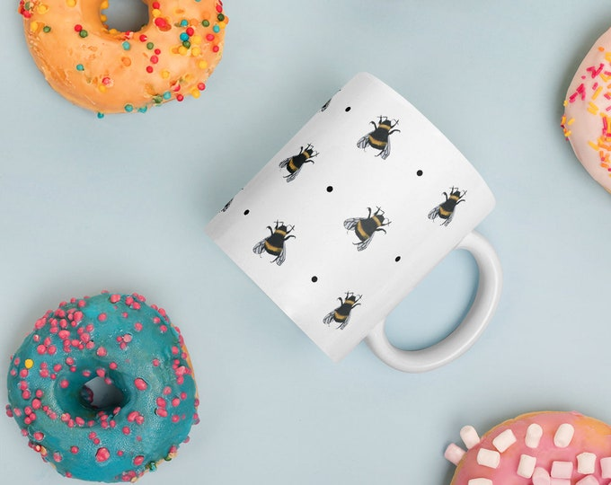 Bee, bumble bee, mug, tea mug, for bee lovers, for bee keepers, bee gift, bee mug,mug and coaster set