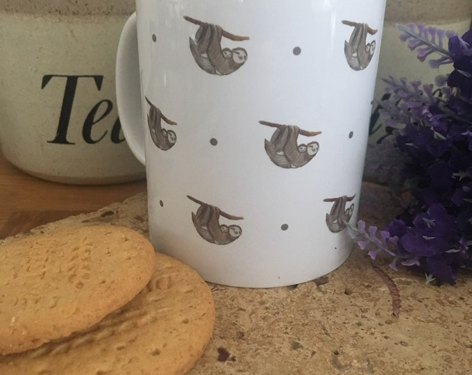 Sloth mug, sloths, for sloth lovers, sloth gift, mug and coaster set