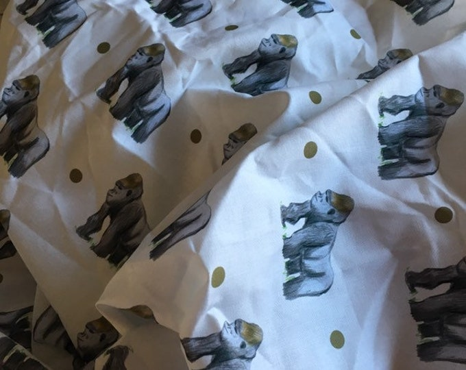 Gorilla fabric, cotton fabric, for gorilla lovers, for monkey lovers