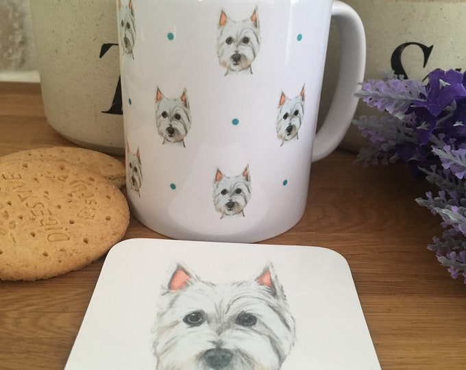 Westie mug, west highland terrier, for westie lovers, westie gift , mug and coaster set
