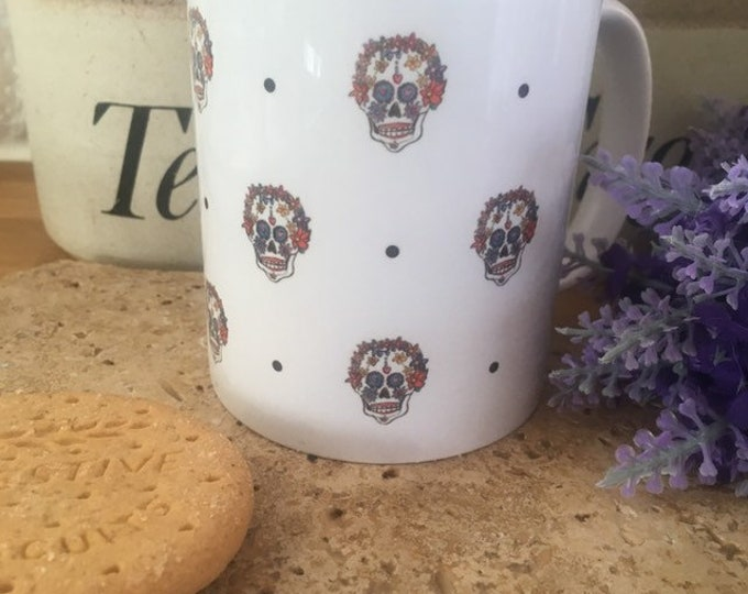 Sugar skull mug, skull mug, for skull lovers, sugar skull gift