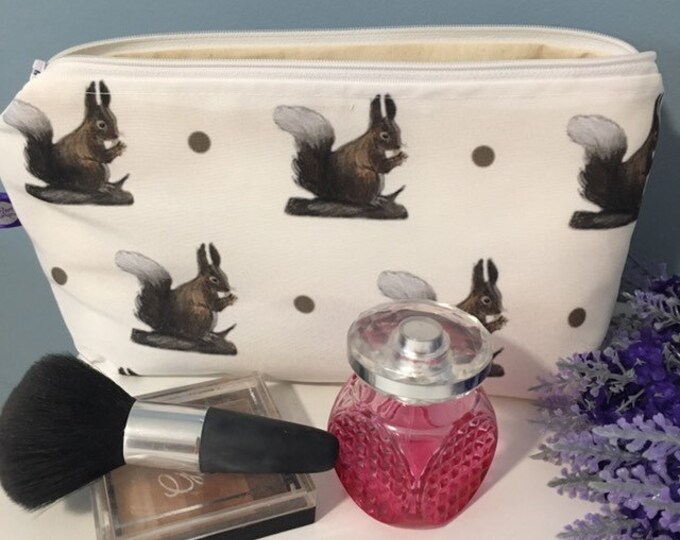 Red squirrel makeup bag, cosmetics bag, for red squirrel lovers, red squirrel gift