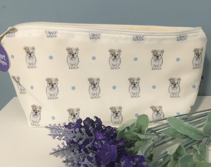 English bulldog, British bulldog, makeup bag, cosmetics bag, for bulldog lovers , bulldog gift