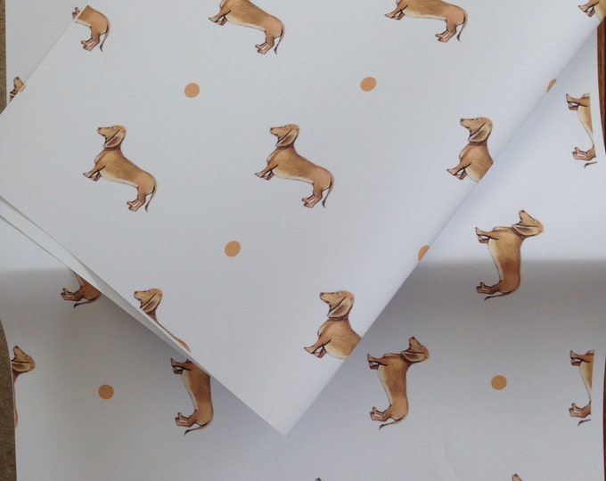 Sausage dog,daschund ,wrapping paper gift wrap, for sausage dog lovers, read description
