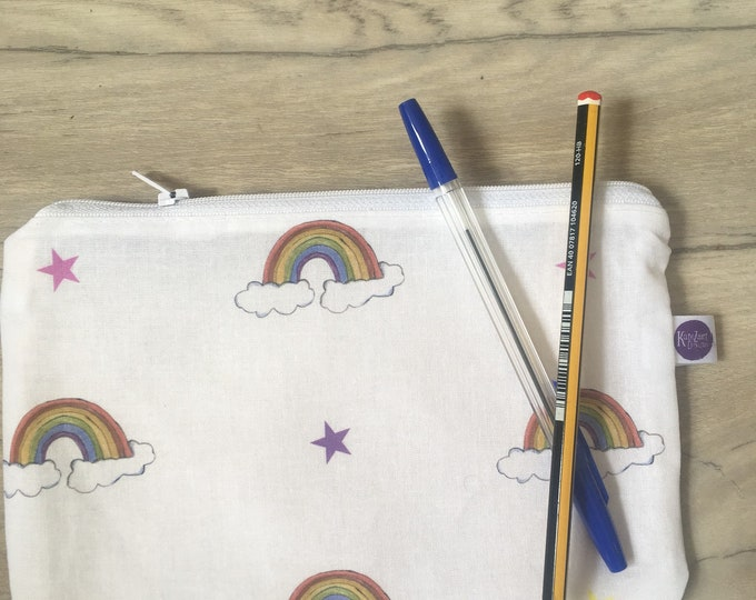 Rainbow, pencil case, stationary case, back to school, storage case, for rainbow lovers