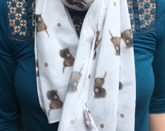 Highland cow, scarf, cotton scarf, for highland cow lovers, for cow lovers, cow gift, scottish cattle gift
