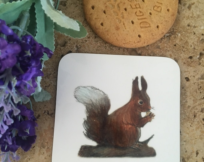 Squirrel coaster, red squirrel coaster, for squirrel lovers, squirrel gift