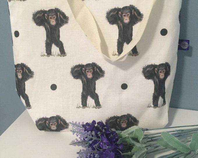 Monkey, chimpanzee, tote bag, day bag, for monkey lovers, monkey gift. Chimpanzee gift