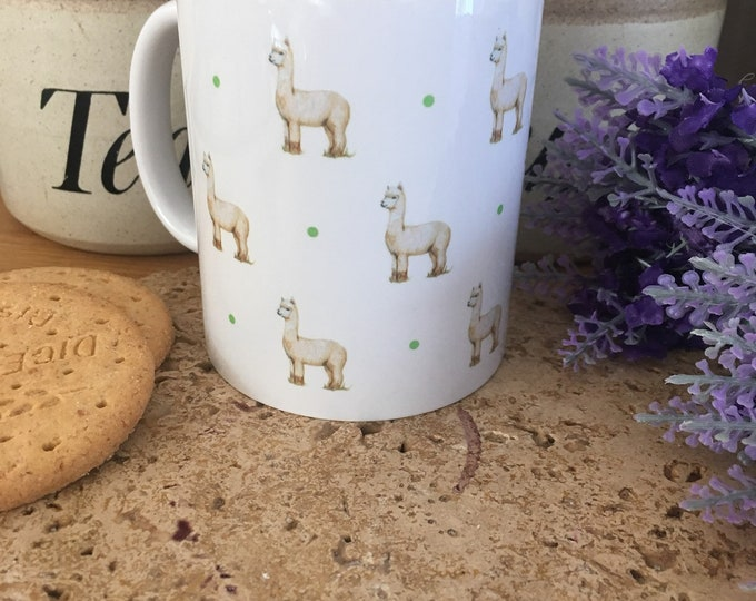 Alpaca mug, for alpaca lovers,alpaca gift, for tea lovers, alpacas, mug and coaster set