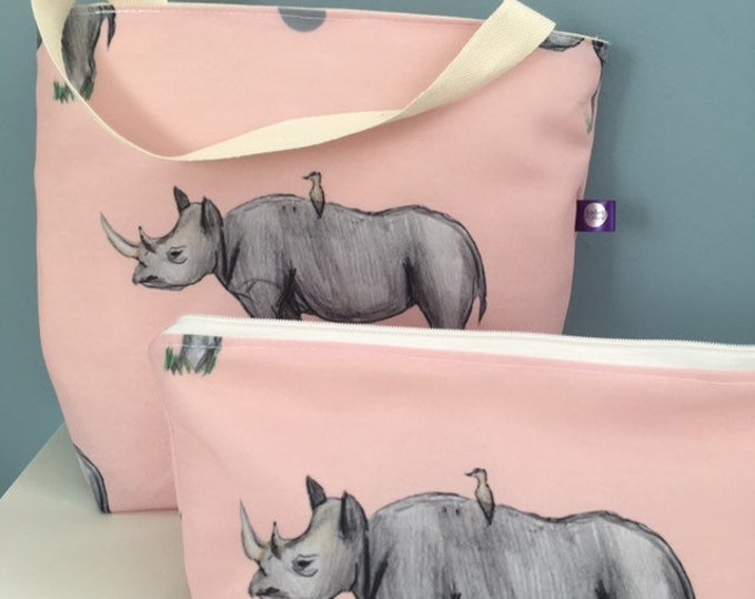 Rhino, makeup bag, cosmetics bag, tote bag, gift set, for rhino lovers, rhino gift, for pink lovers