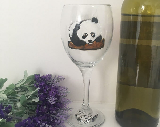 Panda, wine glass, for panda lovers, for wine lovers, for wine drivers