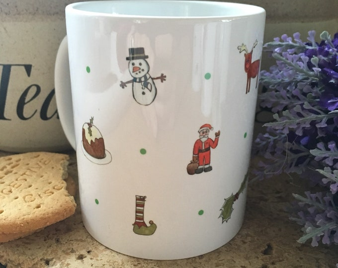 Christmas mug, santa mug, snowman mug, for Christmas lovers, christmas gift!